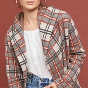 Anthropologie plaid sweater coat with hood